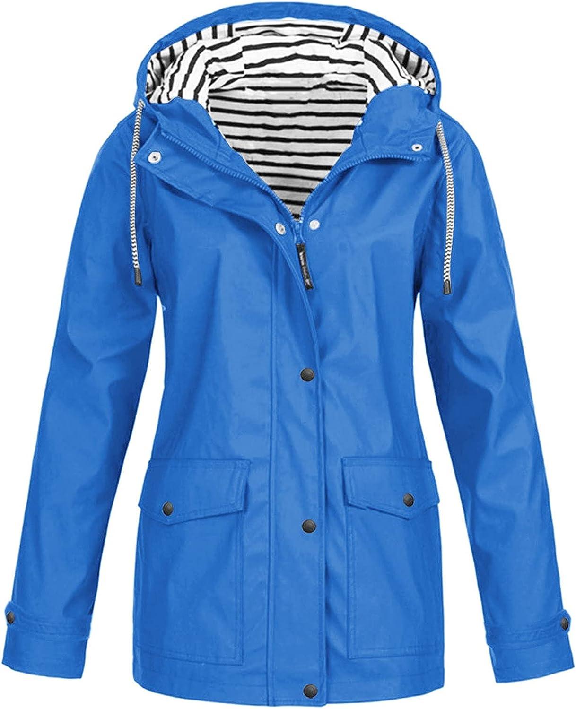 S Oakland Mall - 5XL Womens Solid Rain Jacket Hooded Max 49% OFF Rainc Waterproof Outdoor
