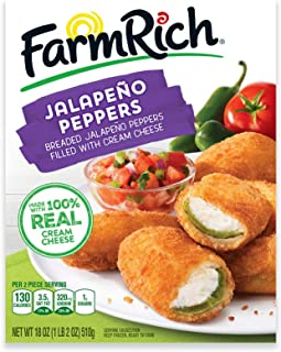 Farm Rich Breaded Jalapeno Peppers, Stuffed with 100% Real Cream Cheese, Frozen, 18 Ounces