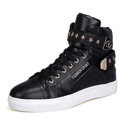 14e17efdc71 PP FASHION Men s Korean Style High Top Platform Fashion Sneaker Sports Casual  Shoes White