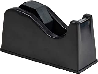"""IHOMECOOKER Desktop Tape Dispenser Adhesive Roll Holder (Fits 1"""" & 3"""" Core) with Weighted Nonskid Base Black"""