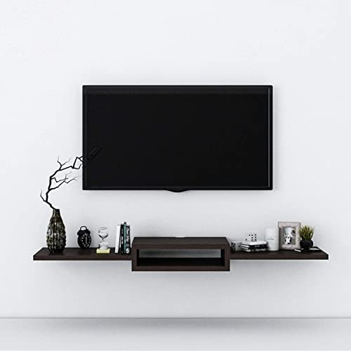 Aart Store Wooden Tv Showcase Set Top Box Stand Wall Mounted Shelf Racks for Home Living Room Floating Shelves for Bedroom