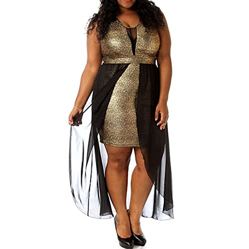 a46b77a79a638 8514 - Plus Size Black Mesh Chiffon Hi Low Layered Cocktail Metallic Gold  Dress