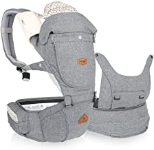 I-angel Miracle All in One Baby Carrier Hipseat Front Backpack Organic Cotton Teething Pads (Melange Gray)