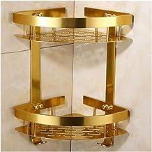 Triangle Bathroom Shelves Shower Corner Shelf with 2 Hooks Space Aluminum Rustproof Wall Mounted Drilling Gold 22cm 1217
