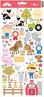 Doodlebug 5929 Cardstock Stickers Down On The Farm Icons, Multicolor