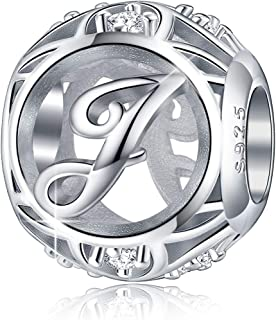 FOREVER QUEEN Letter Charm Initial A-Z Alphabet Charm Dangle Charm for Bracelet Necklace 925 Sterling Silver CZ Beads Charm Personalized Gift Jewelry