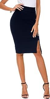 Women's Pencil Skirt Bodycon Business Skirt Side Slit Hem