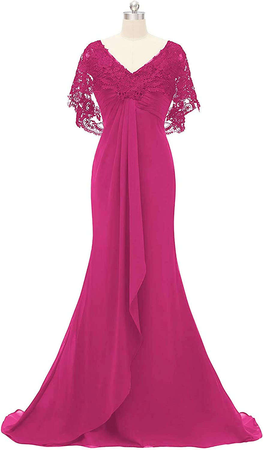 DINGZAN Mermaid Mother of The Bride Dresses Lace Short Sleeve Cape Prom Gowns