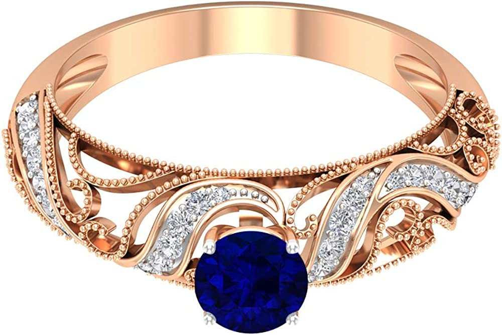 5.00 MM Max Discount is also underway 42% OFF Solitaire Blue Sapphire HI-SI Ring Diamond Accent