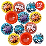 ArtCreativity Superhero Sayings Rubber Poppers for Kids, Pack of 12 Pop-Up Half Ball Toys, Old School Retro 90s Toys, Birthday Party Favors and Treat Bag Filler, Fun Assorted Colors