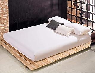 PENVEAT 30 Drap Housse avec élastique 17 Couleurs Unies Draps de lit Couvre-lit Polyester Coton Housse de Matelas TD200, B...