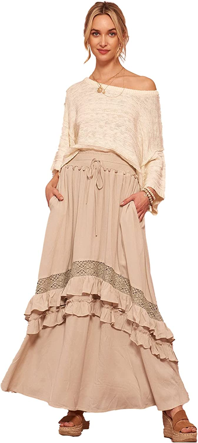Solid Lace-Trimmed Ruffled Pocket Maxi Skirt