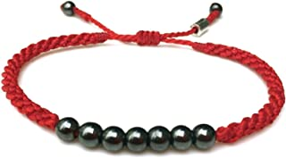 RUMI SUMAQ Red Bracelet with Lucky 7 Hematite Stones for Men and Women - Handmade Unisex Designer Beaded Macrame Adult Friendship Jewelry