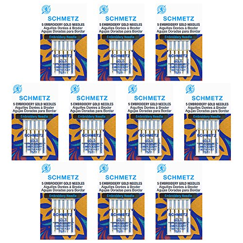 Sale!! 50 Schmetz Gold Embroidery Sewing Machine Needles - size 75/11 - Box of 10 cards