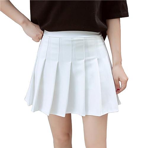 ecb3f71df6bcef Hoerev Women Girls Short High Waist Pleated Skater Tennis School Skirt
