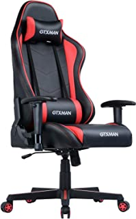 Gaming Racing Office High Back PU Leather Computer Desk Executive and Ergonomic Swivel Chair with Headrest and Lumbar, Red