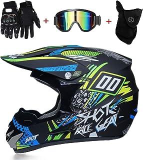 LTongx Motos Motocross Cascos y Guantes y Gafas estándar