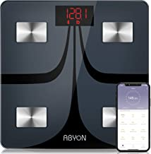 ABYON Bluetooth Smart Bathroom Scales for Body Weight Digital Body Fat Scale,Auto Monitor Body Weight,Fat,BMI,Water, BMR, ...