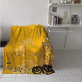 maisi Halloween Digital Printing Blanket Carved Pumpkins with Floral Patterns Bats and Web Horror Jack o Lantern Artwork Summer Quilt Comforter 62x60 Inch Orange Black