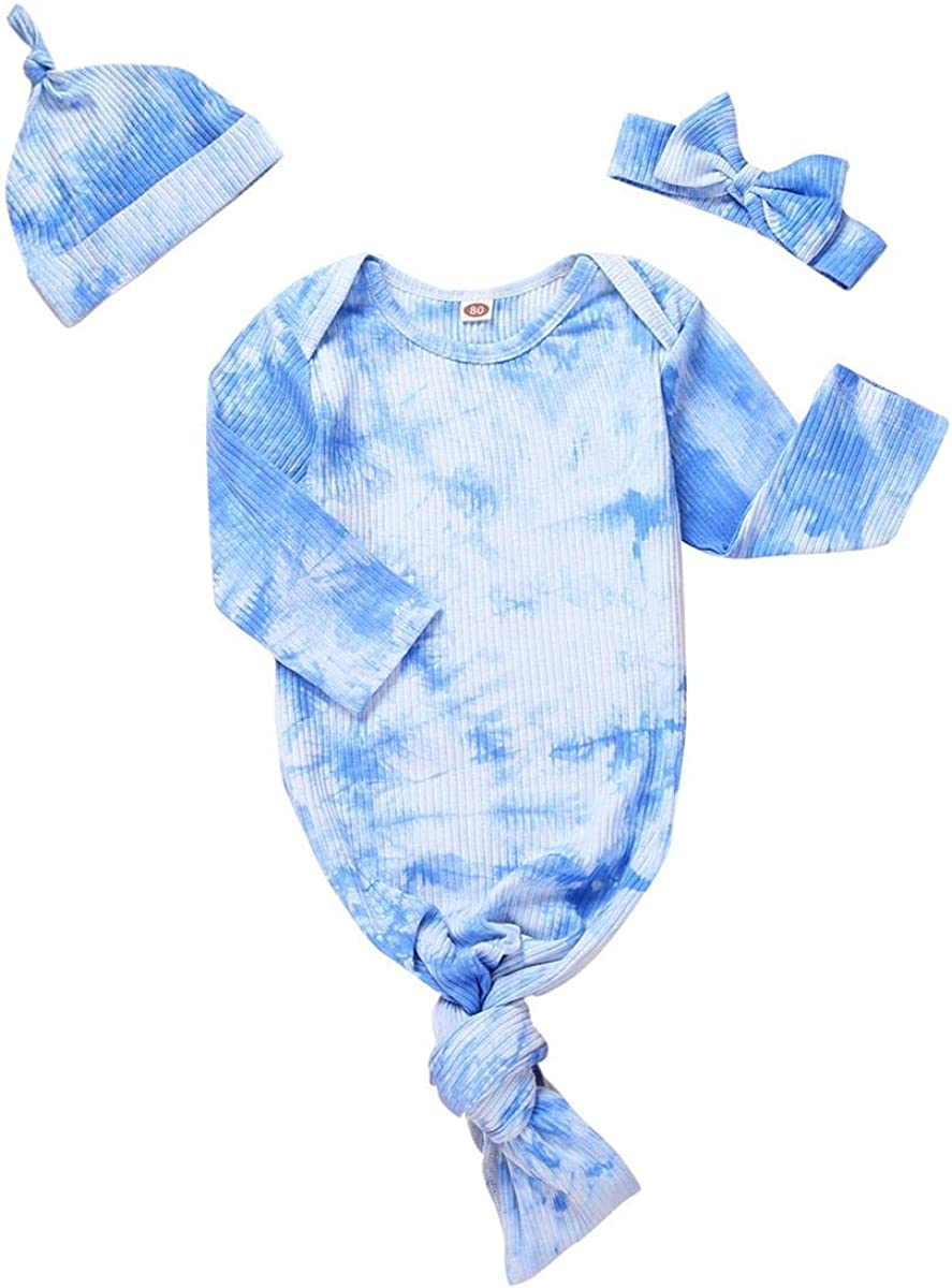 Newborn Baby Girl Boy Knotted Gown Clothes Coming Home Outfit Set with Cap/Headband