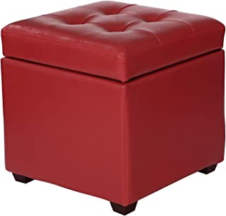 Adeco FT0286 Bonded Leather Square Tufted Cubic Cube Storage Footstool, 16 Inch Height Ottomans & Storage Ottomans, Red