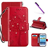 Galaxy S3 Case LEECOCO Embossed Floral 3D Handmade Bling Crystal Diamonds Butterfly with Card Slots Magnetic Flip Stand PU Leather Wallet Case for Samsung Galaxy S3 Wishing Tree Red