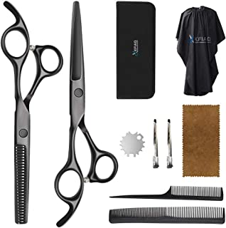 Professional Haircut Shears, Hair Cutting Scissors Set with Thinning Scissors Black Hairdressing Shears Set Thinning/Textu...