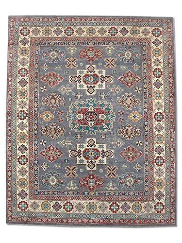 Pak Persian Rugs Tapis Fait À La Main Kazak, Gris Clair/Bleu, Laine, Medium, 244.2 X 302.2 cm