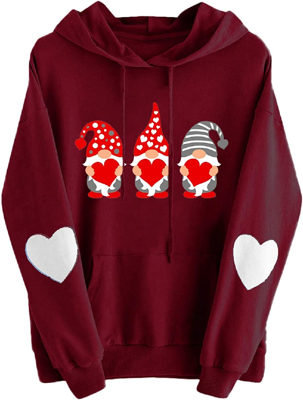 SALIFUN Women Sweatshirts Long Sleeve Funny Print Shirt Valentine's Day Hoodie Sweatshirt Jumper Pullover Tops Blouses