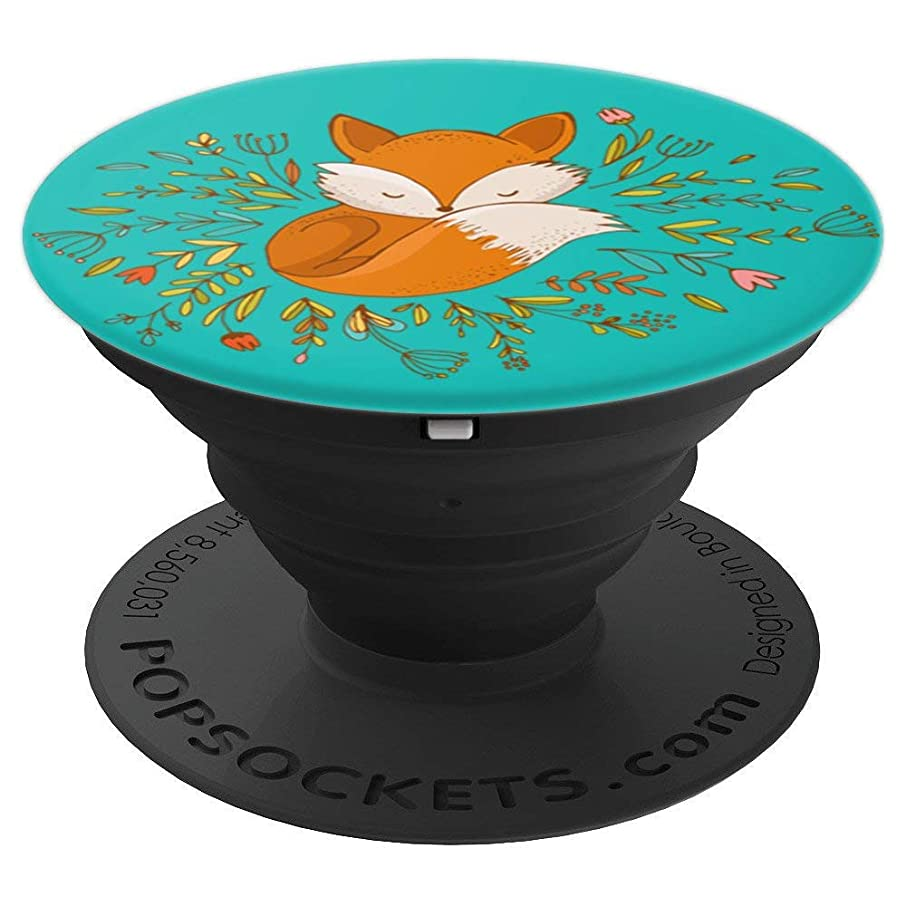 Cute & Unique Whimsical Fox & Flowers Art PACJ0652 - PopSockets Grip and Stand for Phones and Tablets