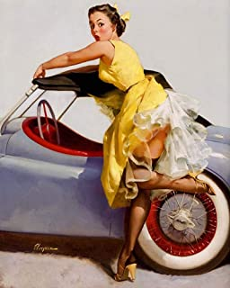 JH Lacrocon Canvas Art Wall Decor Cover Up 1955 by Gil Elvgren 40X50 cm (Approx. 16X20 inch) Photo - Pin-Up Girl Poster Print Picture Vintage