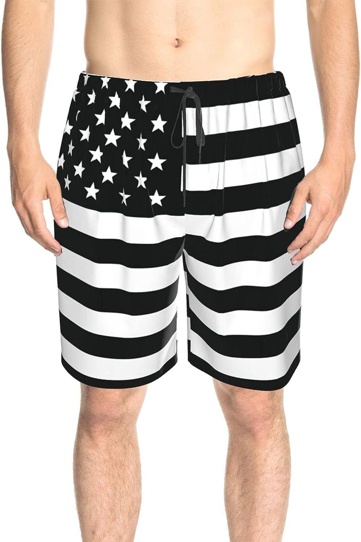 JINJUELS Men's Swim Shorts Black American Flag Swim Board Shorts Drawstring 3D Printed Summer Beach Shorts with Liner