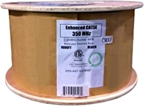 Vertical Cable Cat5e, 350 Mhz, Shielded, Gel Filled (Flooded Core), Direct Burial, 1000ft, Black, Bulk Ethernet Cable, Wooden Spool