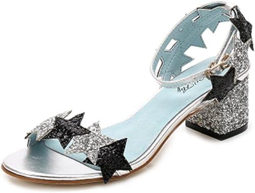 HETAO personnalité Glitter Elegant Strappy Sequins Star bleu noir rosehigh Heel Sandales, 34 Le Cadeau de la Fille