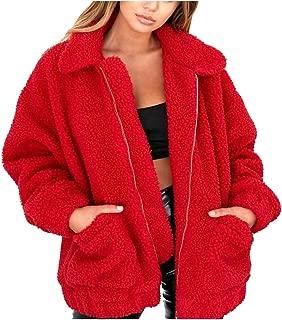 Women Faux Shearling Coat Oversized Zip Winter Fuzzy Fleece Teddy Bear Jacket