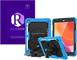 Apple Ipad 10.2 (2019) Remson Rugged Shockproof Drop Protection with 360 Rotating Kickstand/Shoulder Strap Cover (Sky Blue)