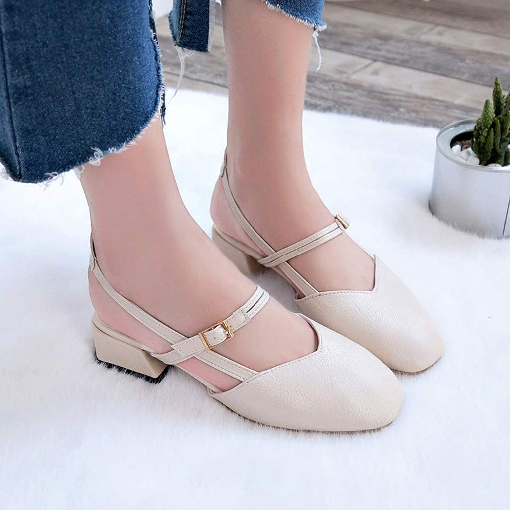 Zapatos de Mujer Elegantes con Tacones Blancos medianos Summer Home Must Zapatos de Princesa Liqiqi Zapatillas de Moda Sandalias de Color s/ólido con Correa en el Tobillo Mujer Rosa
