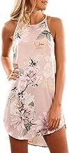 Asvivid Womens Summer Halter Neck Floral Print Sleeveless Casual Mini Dress