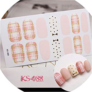 14 Tips/Sheet Nail Art DIY Full Cover Self Adhesive Stickers Polish Foils Tips Wraps Glitter Gradient Shiny Nail Decals Manicure,KS088