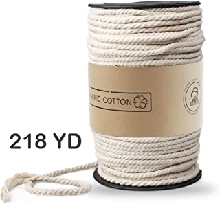 Macrame Cord, ZOUTOG 3mm x 220 yd (About 200m) Natural Cotton Soft Unstained Rope for Handmade Plant Hanger Wall Hanging Craft Making