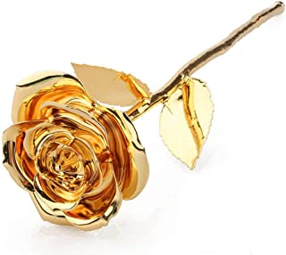 Msa Jewels - 24k Gold Dipped Real Rose 15 cm with Beautiful Velvet Box Packing (24k,15 cm, Gold)