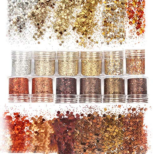 Laza 12 Colors Nail Art Acrylic Nails Glitter Mixed Powder Retro Copper Sequins Iridescent Flakes Paillette Sparkles Tips 120g for Cosmetic Face Eyes Body Hair - Golden Age