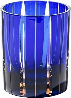 江戸切子 立菱縞紋 オールドグラス(琥珀ルリ)TB94329AB 木箱入り 太武朗工房直販 日本製