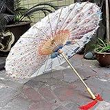 ETHAN Jpy Chinesischer handgemachter Pfau, der seinen Endstück geölten Papierregenschirm Cosplay-Sonnenschirm-Durchmesser 60Cm zur Schau stellt