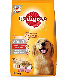 Pedigree Adult Dry Dog Food (High Protein Variant) Chicken, Egg and Rice, 10kg Pack