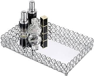 Hipiwe Crystal Cosmetic Makeup Tray - Mirrored Vanity Jewelry Decorative Tray Organizer for Storage Perfume, Toiletries,Trinket, Home Decor Tray for Dresser/Vanity Table, Bathroom