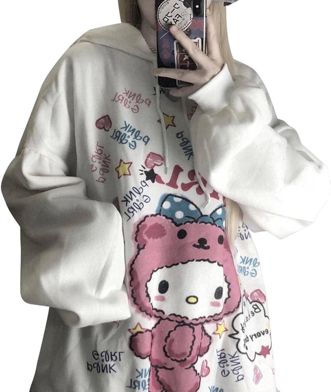 Y2K Anime Hoodie Women Kawaii Fashion Sweatshirt Korean Long Sleeve Print Tops Vintage Oversized Cute Hoodie