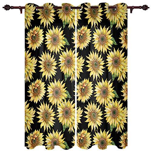 "USOPHIA Grommet Semi Sheer Window Treatment,Sunflower Nature Black and Yellow Art Living Room Bedroom Window Drapes 2 Panel Set, 40"" x 84"""