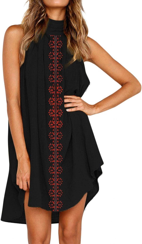 Aunimeifly Ladies Solid Color Sleeveless Dress High Neck Pleated Loose Sundress Summer Beach Dresses