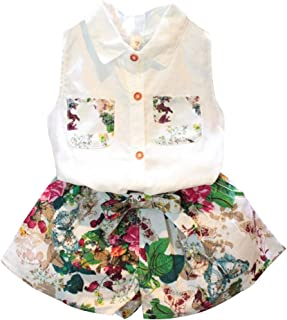 amropi Girl's Pockets Shirt Tops and Floral Short Pants Clothes Set for 3-8 Years